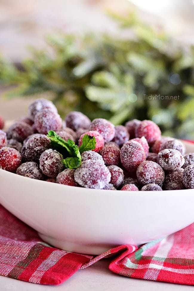 sugared cranberries in a white oval bowl