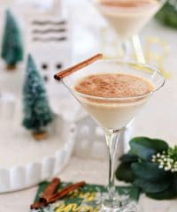 A Baileys Martini with a vanilla twist on a green napkin