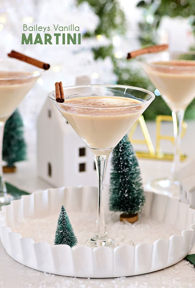 Baileys Vanilla Martini on a white tray