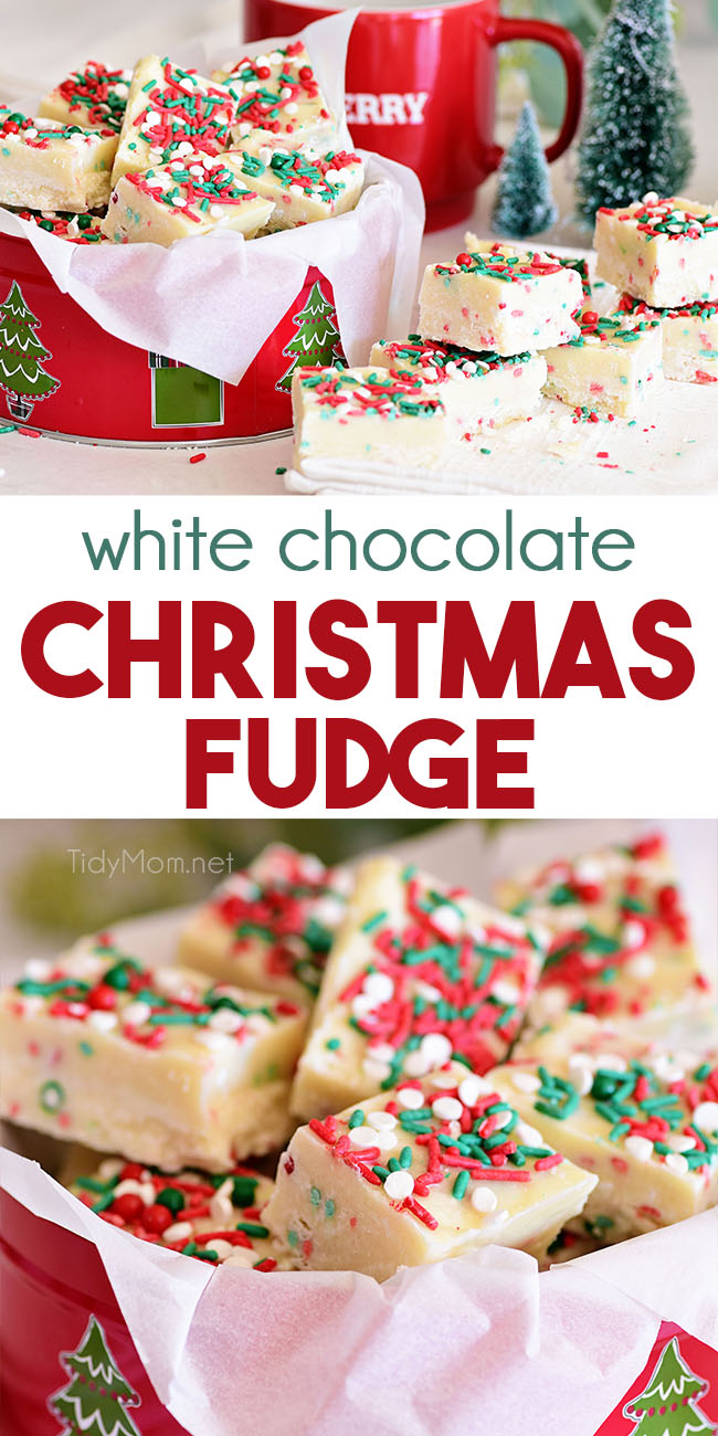 Quick and easy White Chocolate Christmas Fudge combines the flavors of sugar cookies and white chocolate in a delicious fudge recipe. Make a big batch of Christmas fudge to give out as homemade gifts. Print the full recipe at TidyMom.net #fudge #whitechocolate #sugarcookie #christmas