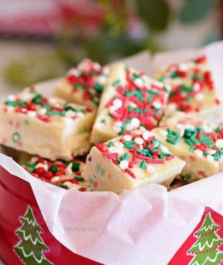 White Chocolate Christmas Fudge in a holiday tin