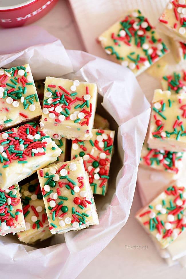 White Chocolate Christmas Fudge in a Christmas tin