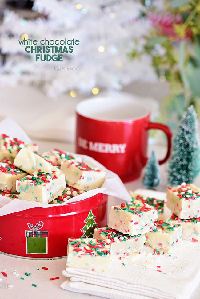White Chocolate Christmas Fudge in a red tin