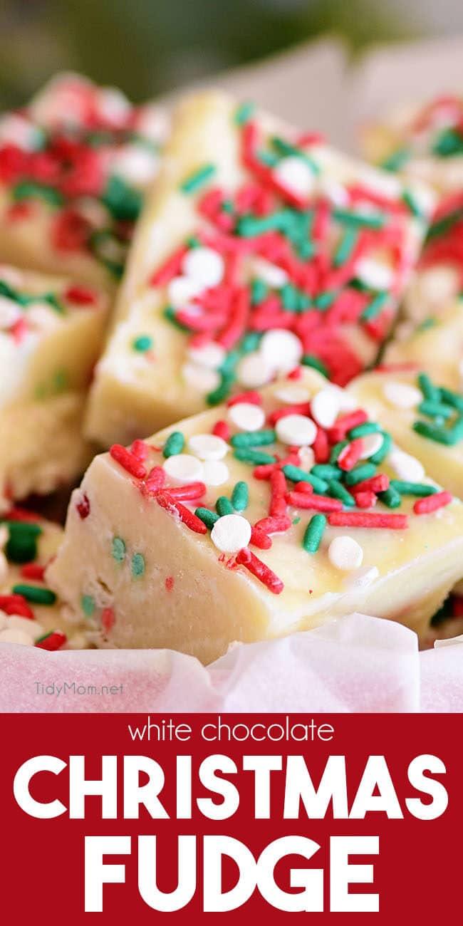 White Chocolate Christmas Fudge close up