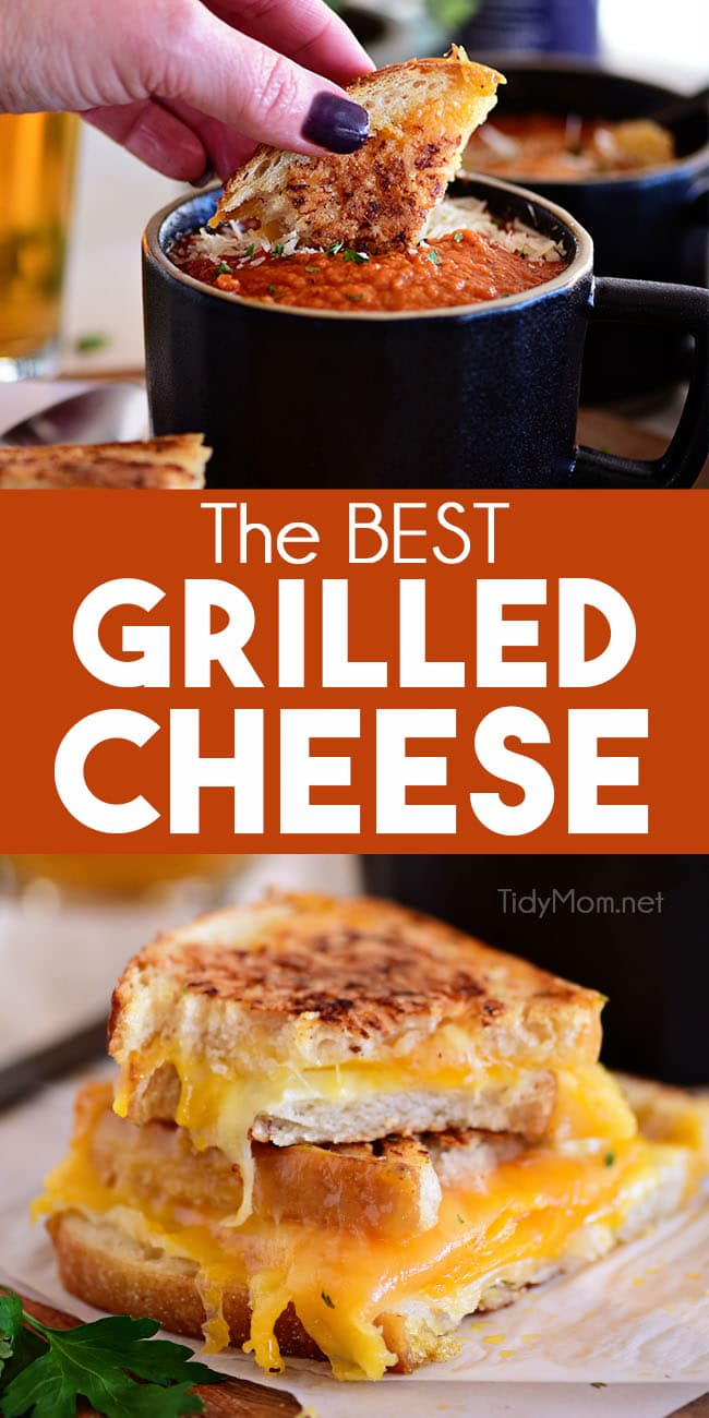 """The BEST Grilled Cheese Sandwich is grilled until toasty and golden and loaded with gooey cheese on hearty bread. Add a bowl of tomato soup and you have a match made in heaven! Always an easy answer to """"what's for dinner"""". Print recipe at TidyMom.net #grilledcheese #cheese #toastedcheese #sandwich"""