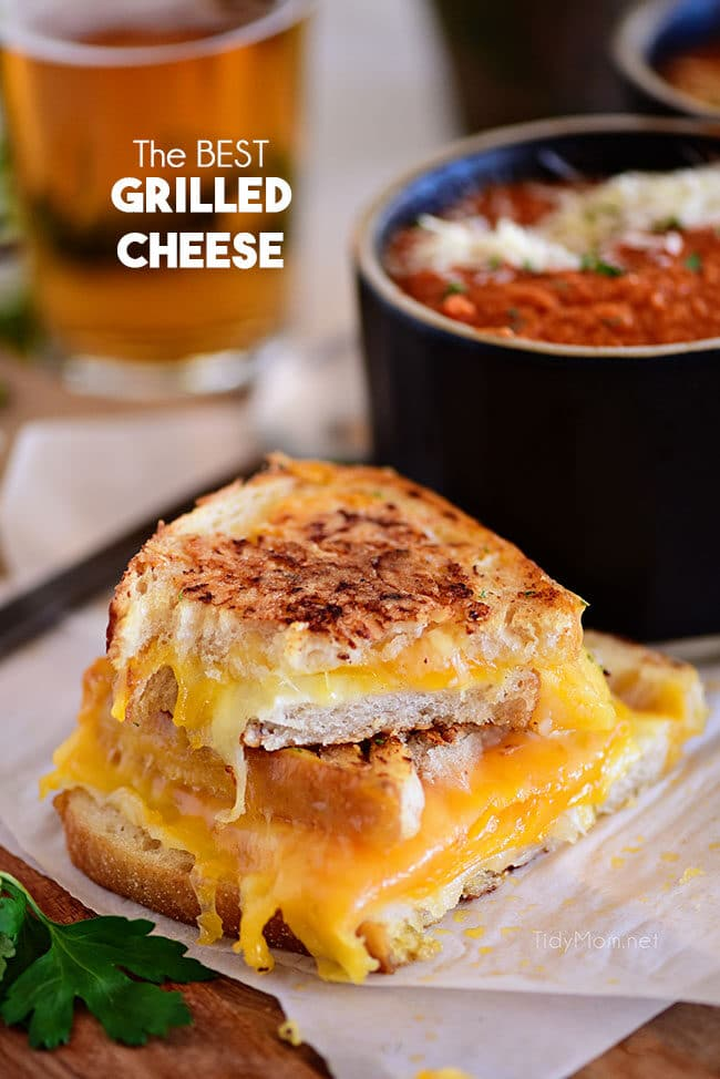 Grilled Cheese Sandwich with a bowl of tomato soup