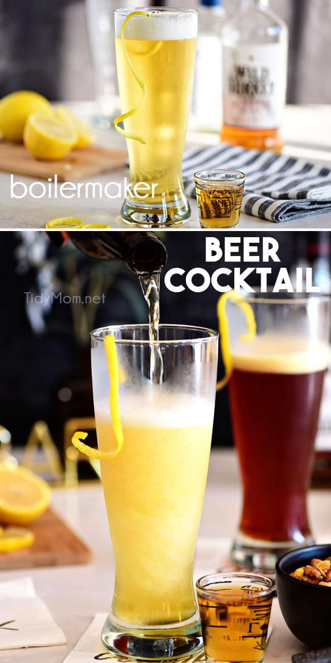 boilermaker beer cocktail photo collage