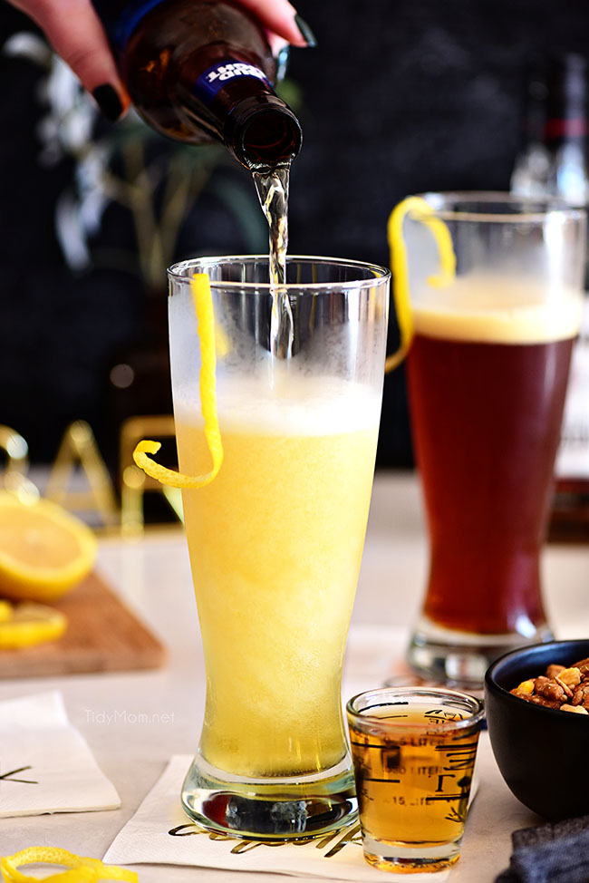 boilermaker beer cocktails with lemon twists