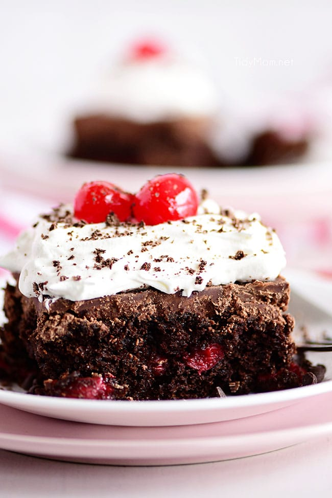 a piece of chocolate covered cherry cake with whipped cream on top