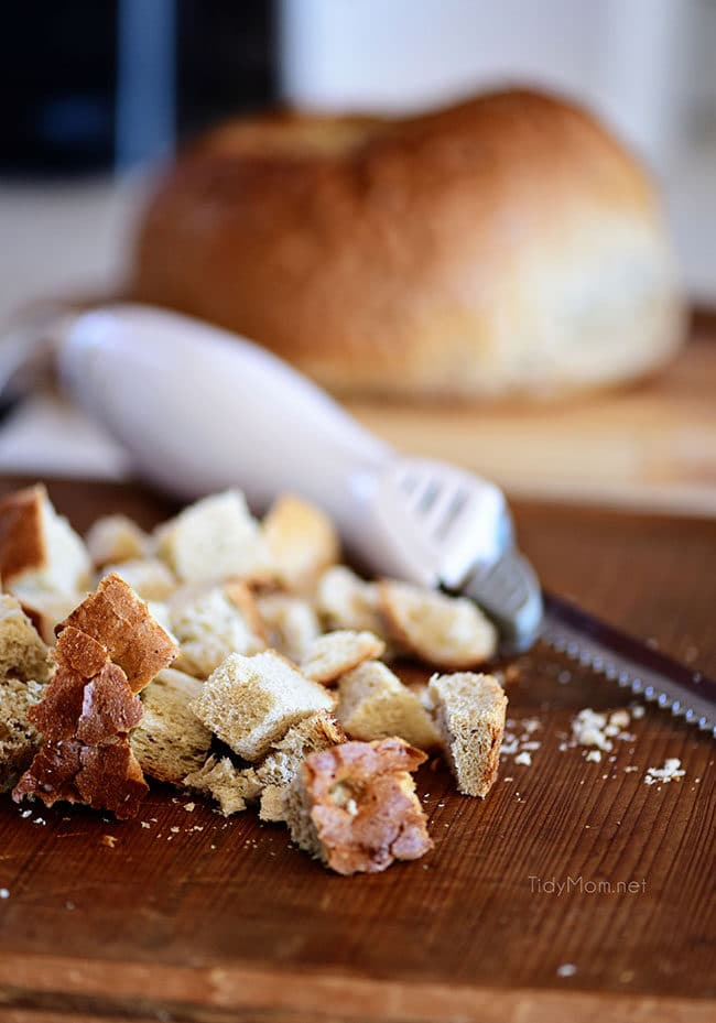 hearty bread cut into cubes with an electric knife