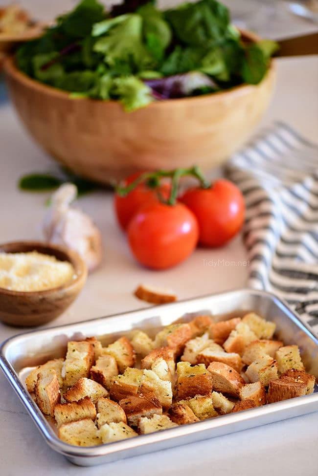 homemade croutons on a pan