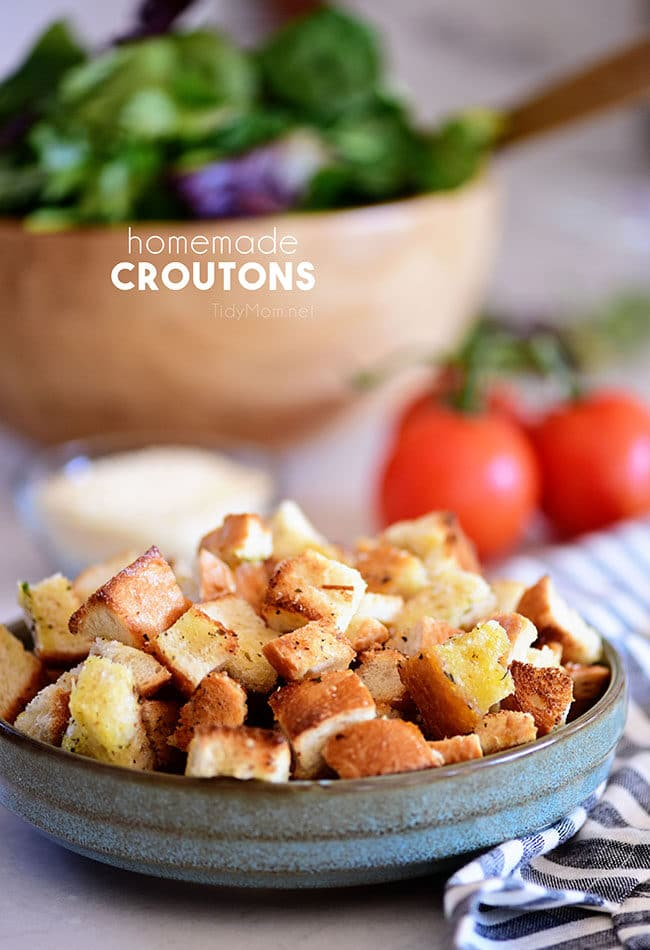 delicious homemade croutons in a blue bowl
