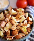 easy homemade croutons in a bowl