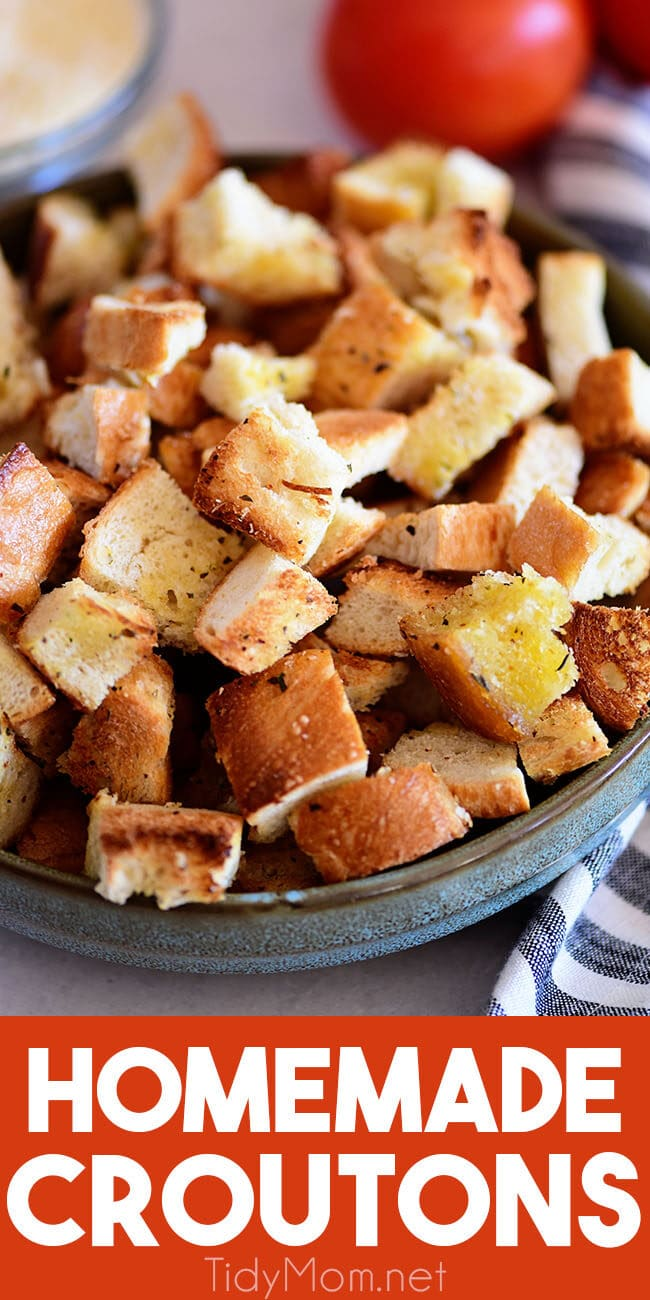 homemade croutons in a bowl
