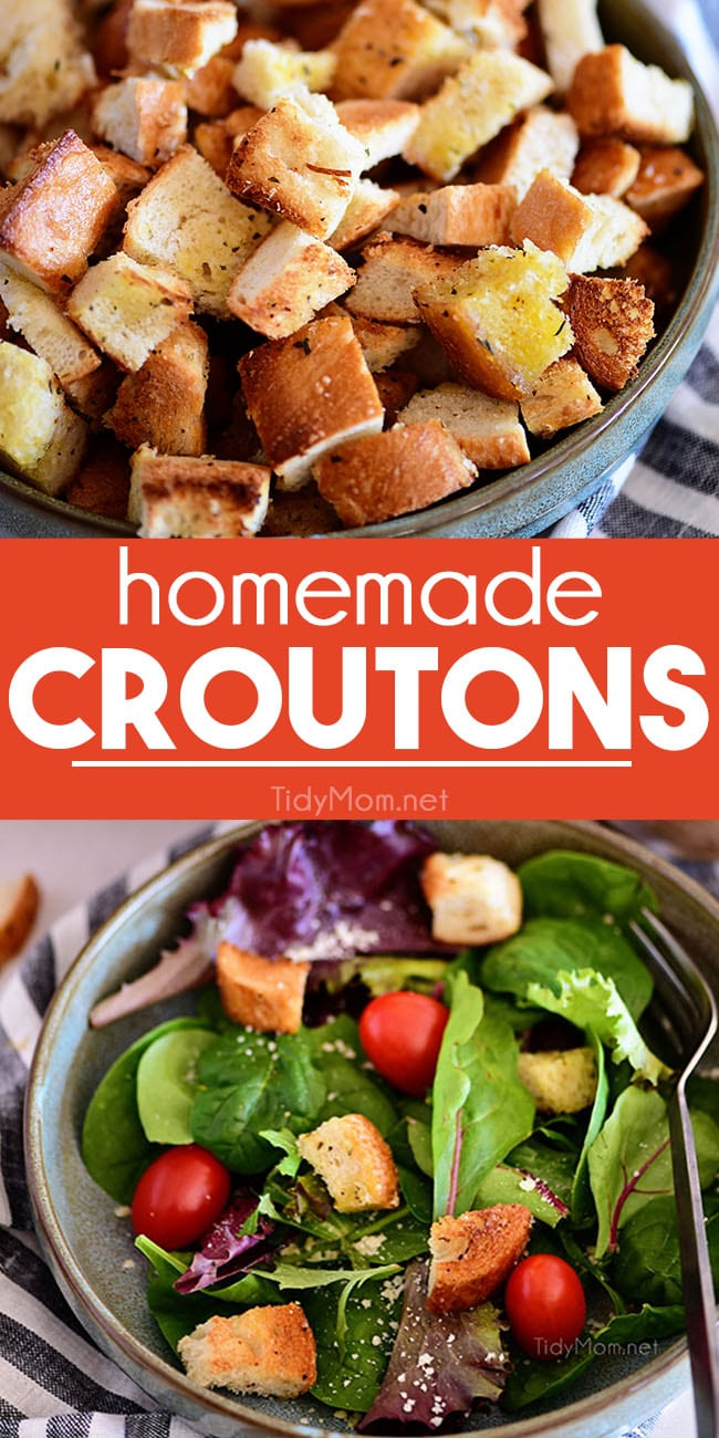 Learn how simple it is to make homemade croutons! Perfectly seasoned and customizable to take your soup or salad to the next level! 15 minutes is all you need. Print the recipe at TidyMom.net #croutons #salad #soup #recipe #homemade #bread