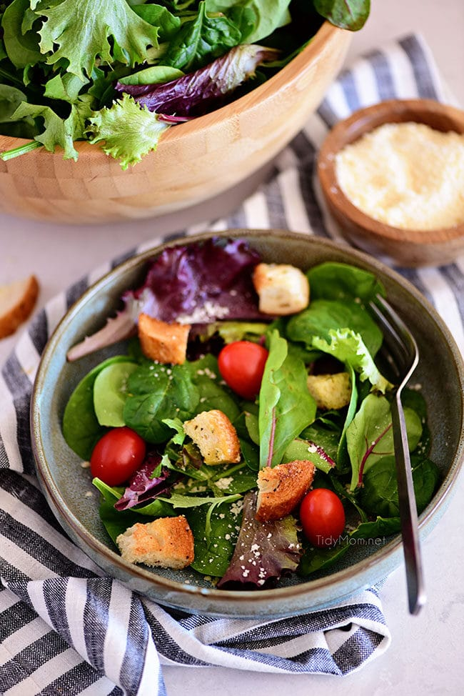 homemade croutons in a salad