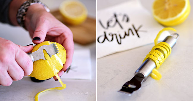 how to make a lemon twist garnish
