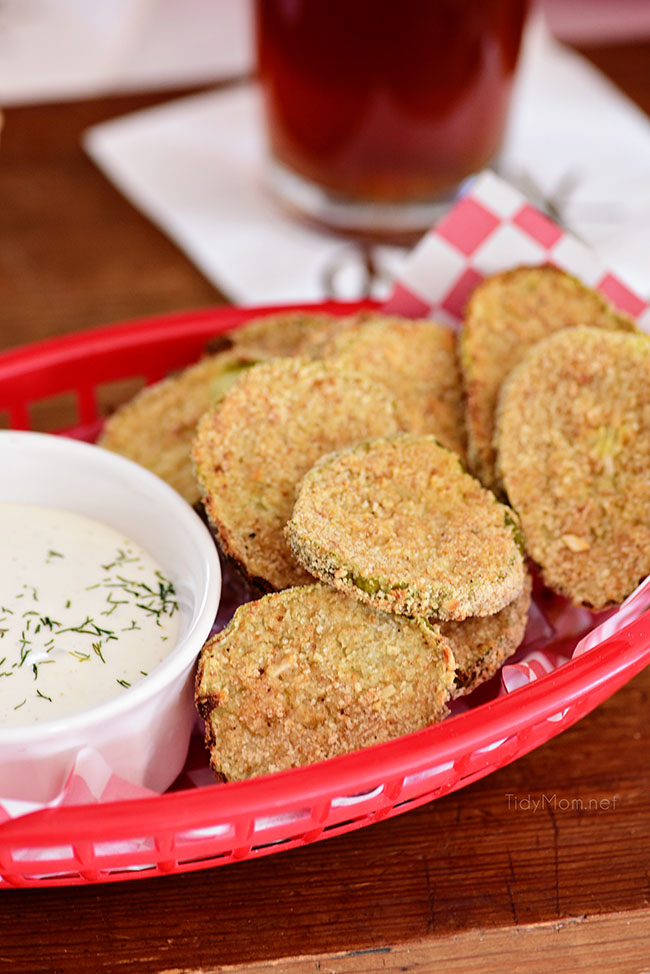 oven fried pickles in a red basket