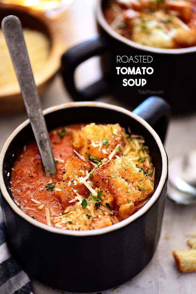 homemade Tomato Soup with fire-roasted tomatoes in a black mug