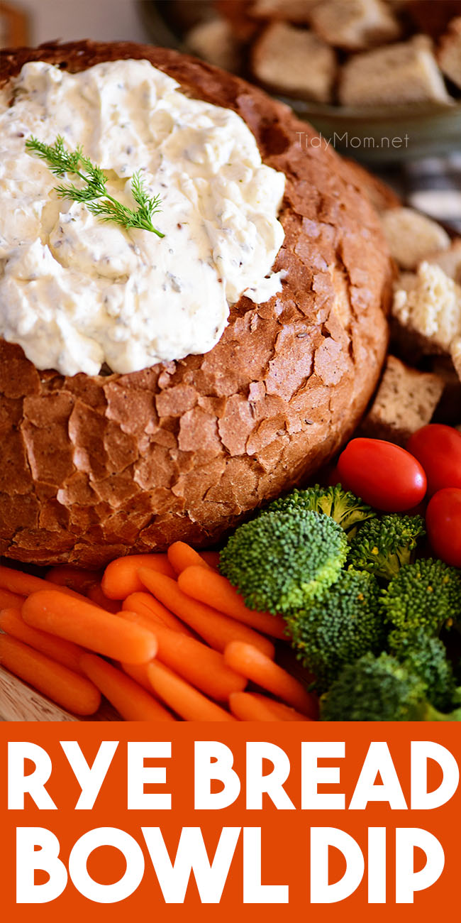 cream Rye Bread Bowl Dip with veggies