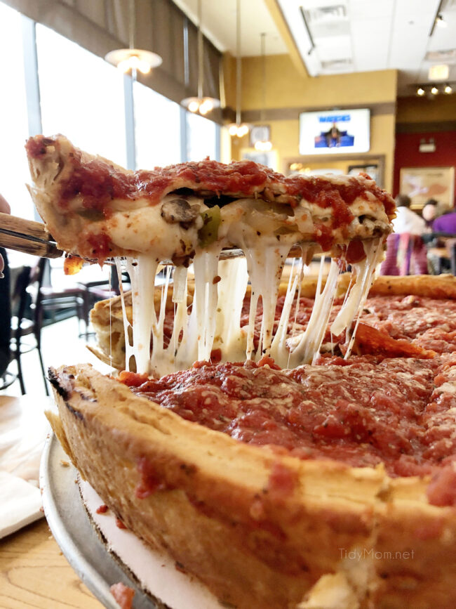 a slice of Giordano's in Chicago