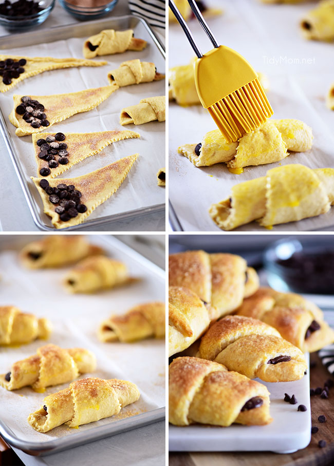 step-by-step photos for making chocolate croissants