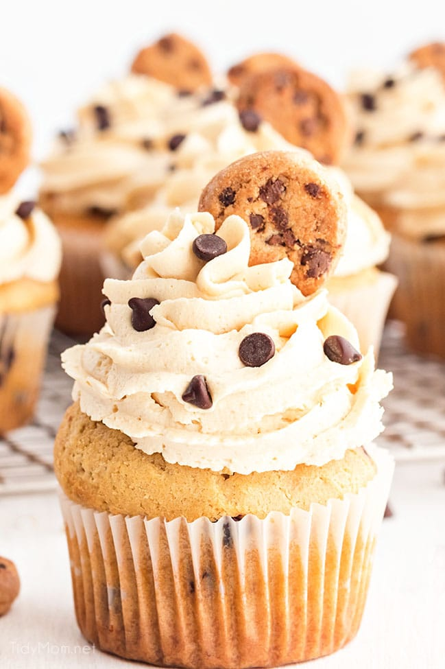 Cupcakes stuffed with cookie dough and topped with cookie dough frosting