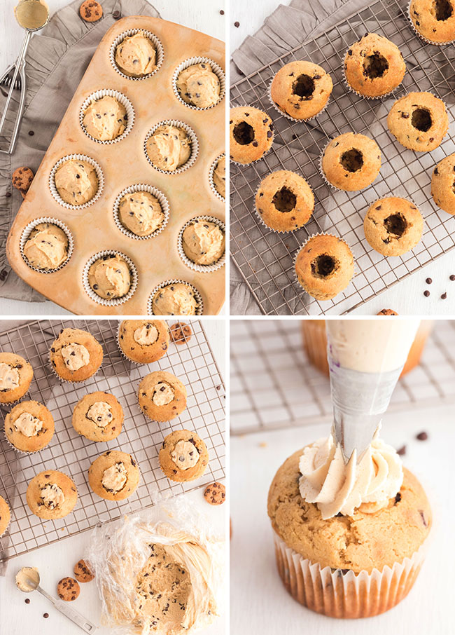 how to make cookie dough cupcakes photo collage