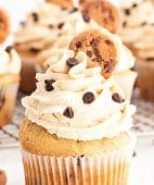 Cupcake stuffed with cookie dough and topped with cookie dough frosting
