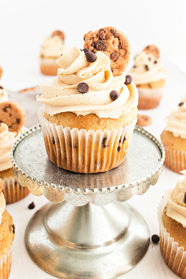 Cookie Dough Cupcakes with Cookie Dough Frosting and a little cookie on top