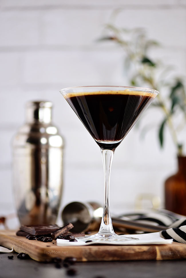 espresso martini with a silver cocktail shaker