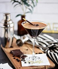 espresso martini with chocolate garnish