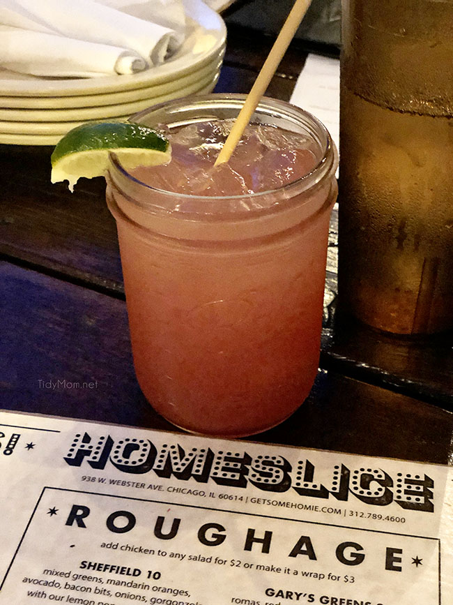 cocktail and menu from Homeslice in Chicago