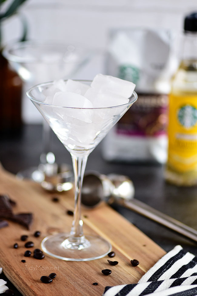 chilling a martini glass by filling it with ice
