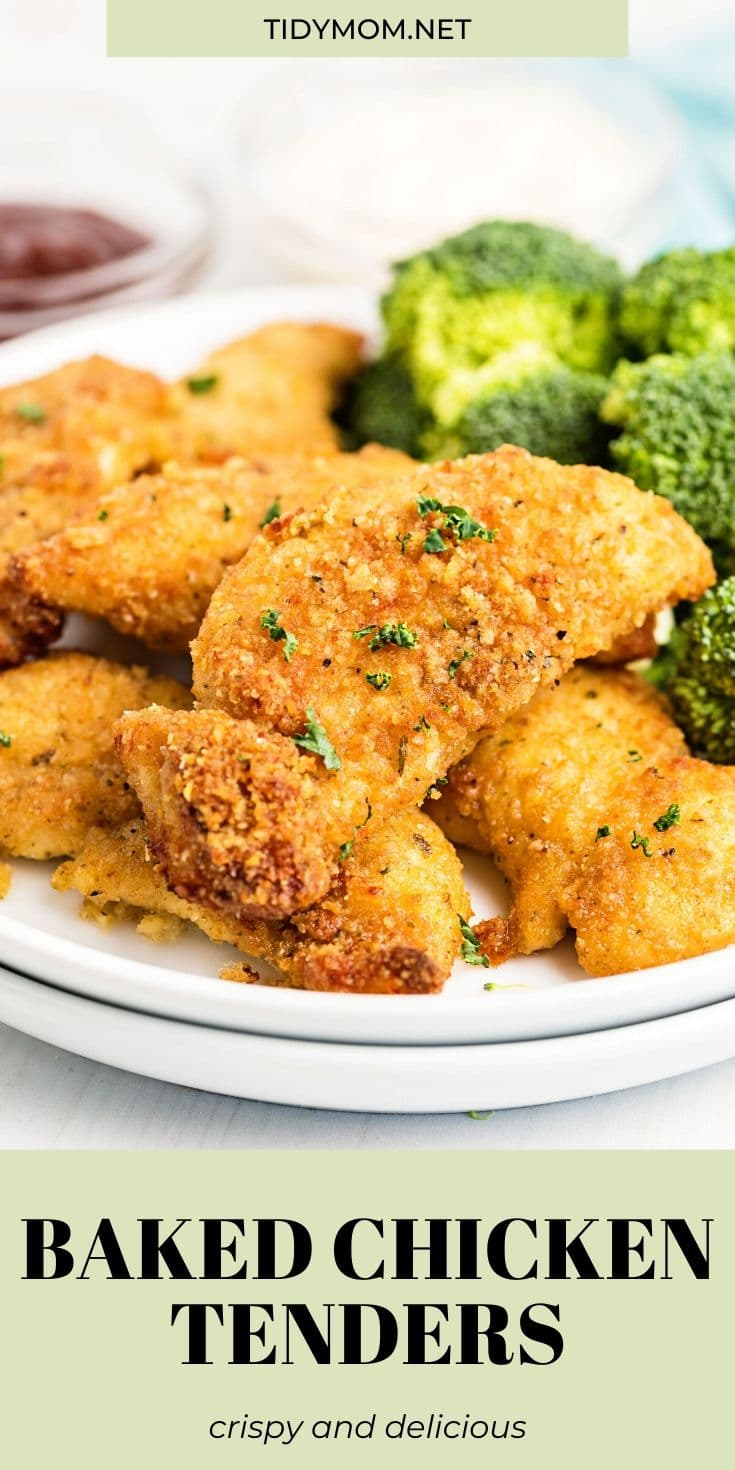 These Crispy Baked Chicken Tenders are made extra crispy with panko breadcrumbs and garlic butter.  Crazy delicious, juicy and easy chicken dinner that's baked not fried. PRINTABLE RECIPE at TidyMom.net