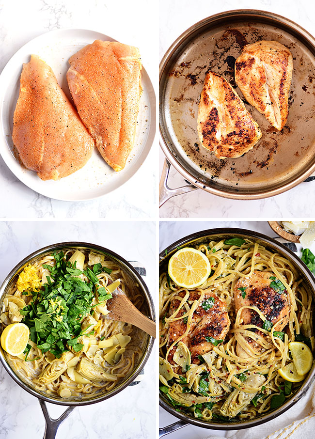 how to make lemon artichoke pasta with a chicken breast photo collage