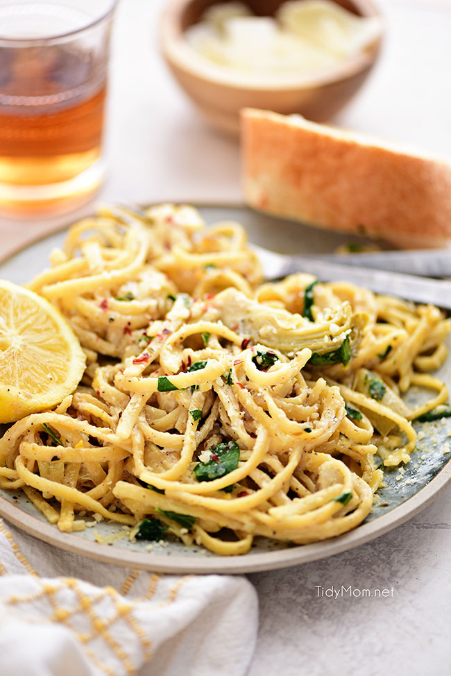 lemon artichoke pasta on a plate
