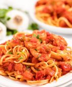 Shrimp Spaghetti on white plates