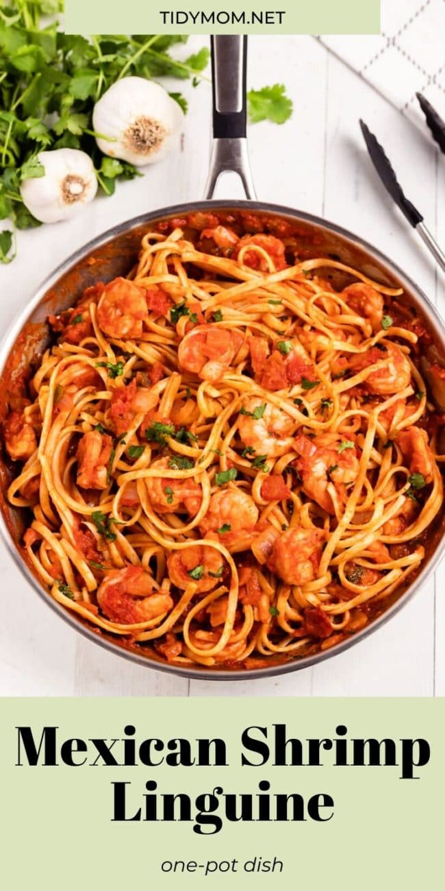 One-pan Mexican Shrimp Linguine in a skillet
