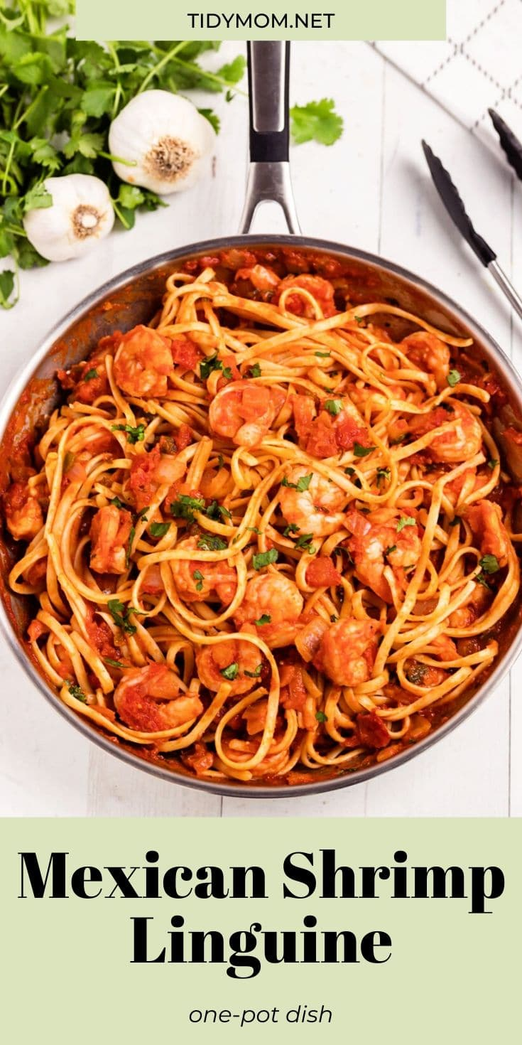 Mexican Shrimp Linguine combines three things my family loves; pasta, shrimp and Mexican flavor. This shrimp pasta recipe has a little bit of heat with a whole lot of delicious and it can be whipped up in a hurry. PRINT RECIPE at TidyMom.net