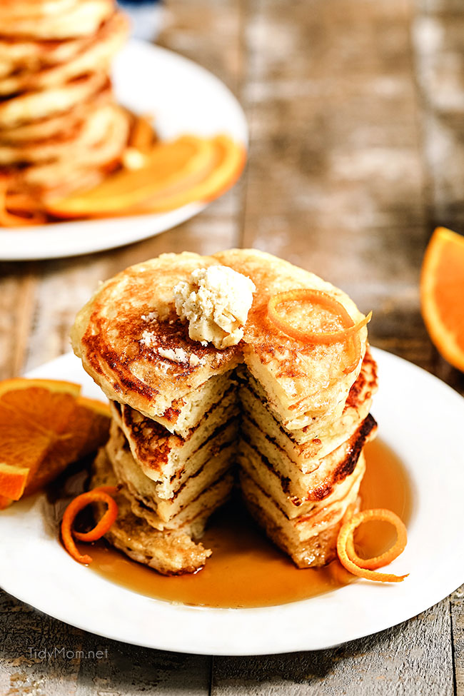 stack of pancakes with a bit cut out