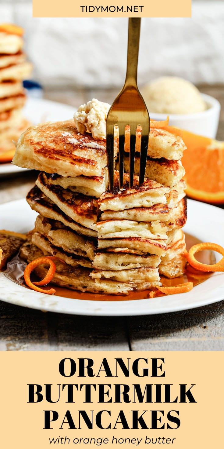 Orange Buttermilk Pancakes-light and fluffy pancakes with a hint of orange served with whipped orange honey butter make a perfect spring breakfast! PRINTABLE RECIPE at TidyMom.net