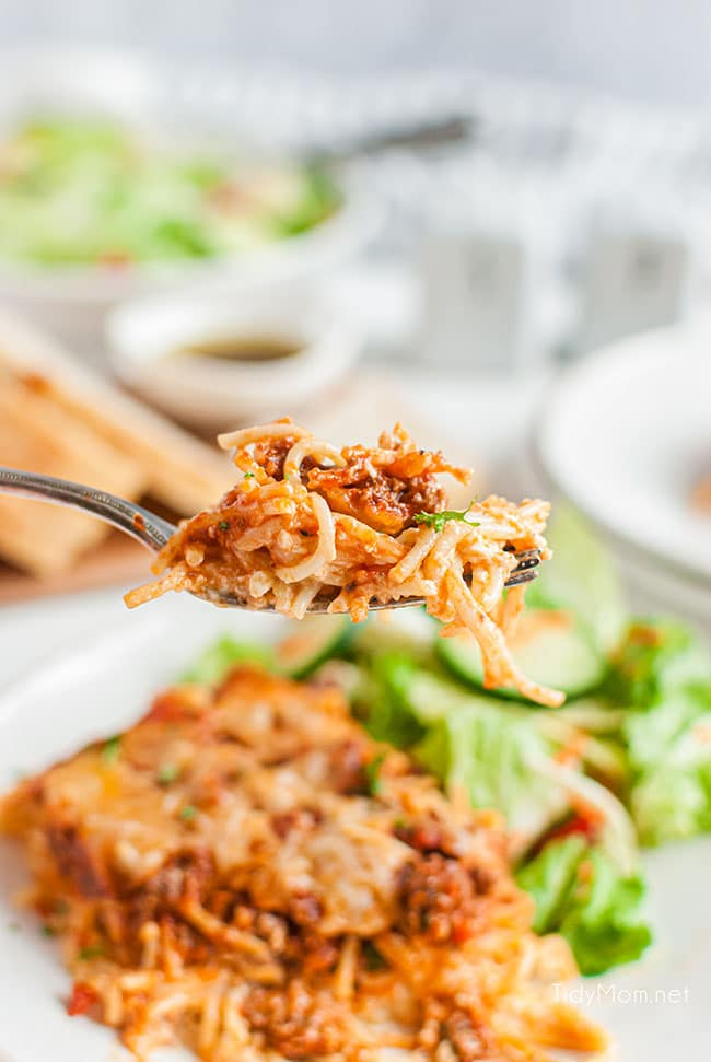 baked spaghetti on a fork