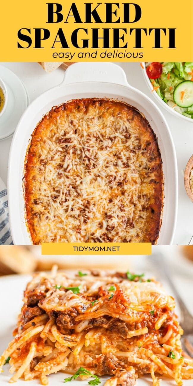 baked spaghetti casserole photo collage