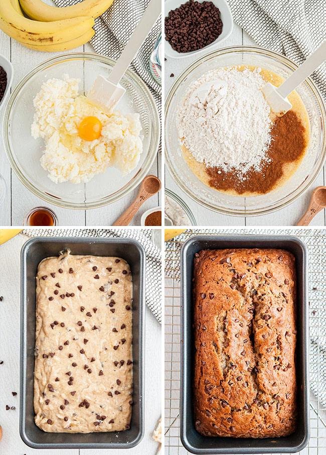 banana bread how to photo collage
