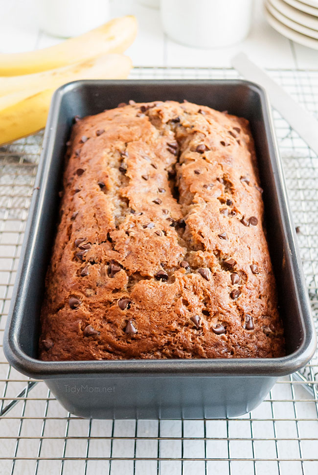 baked banana bread in a tin pan