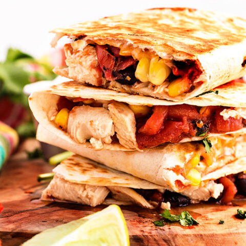 3 chicken quesadillas stacked on each other