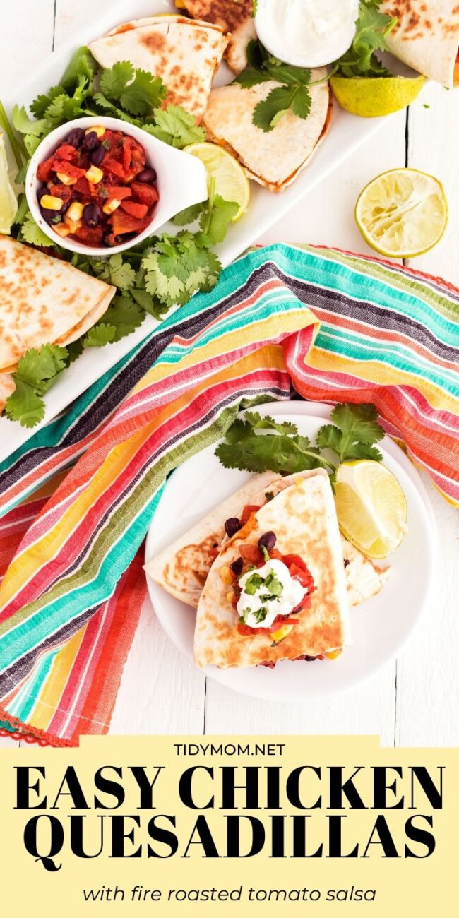 quesadillas on a plate with colorful napkin