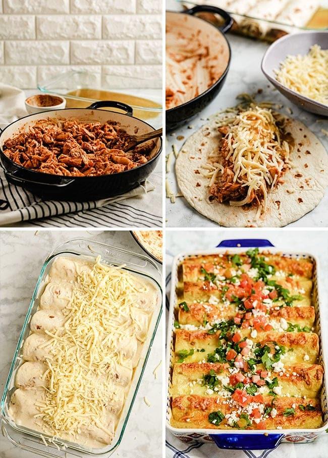 how to make honey lime enchiladas photo collage