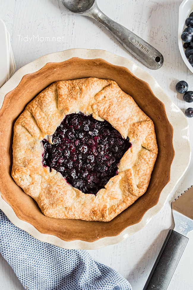 blueberry galette baked in a pie dish